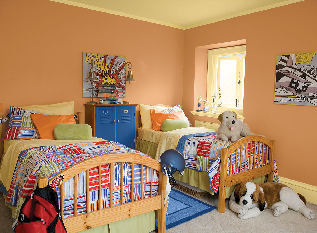the 4 best paint colors for kids rooms 11927 | ia int orange kids room 1200x880